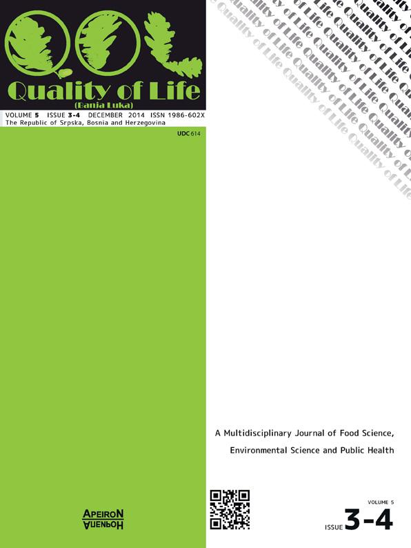 View Vol. 10 No. 3-4 (2014): QUALITY OF LIFE (Banja Luka) - APEIRON