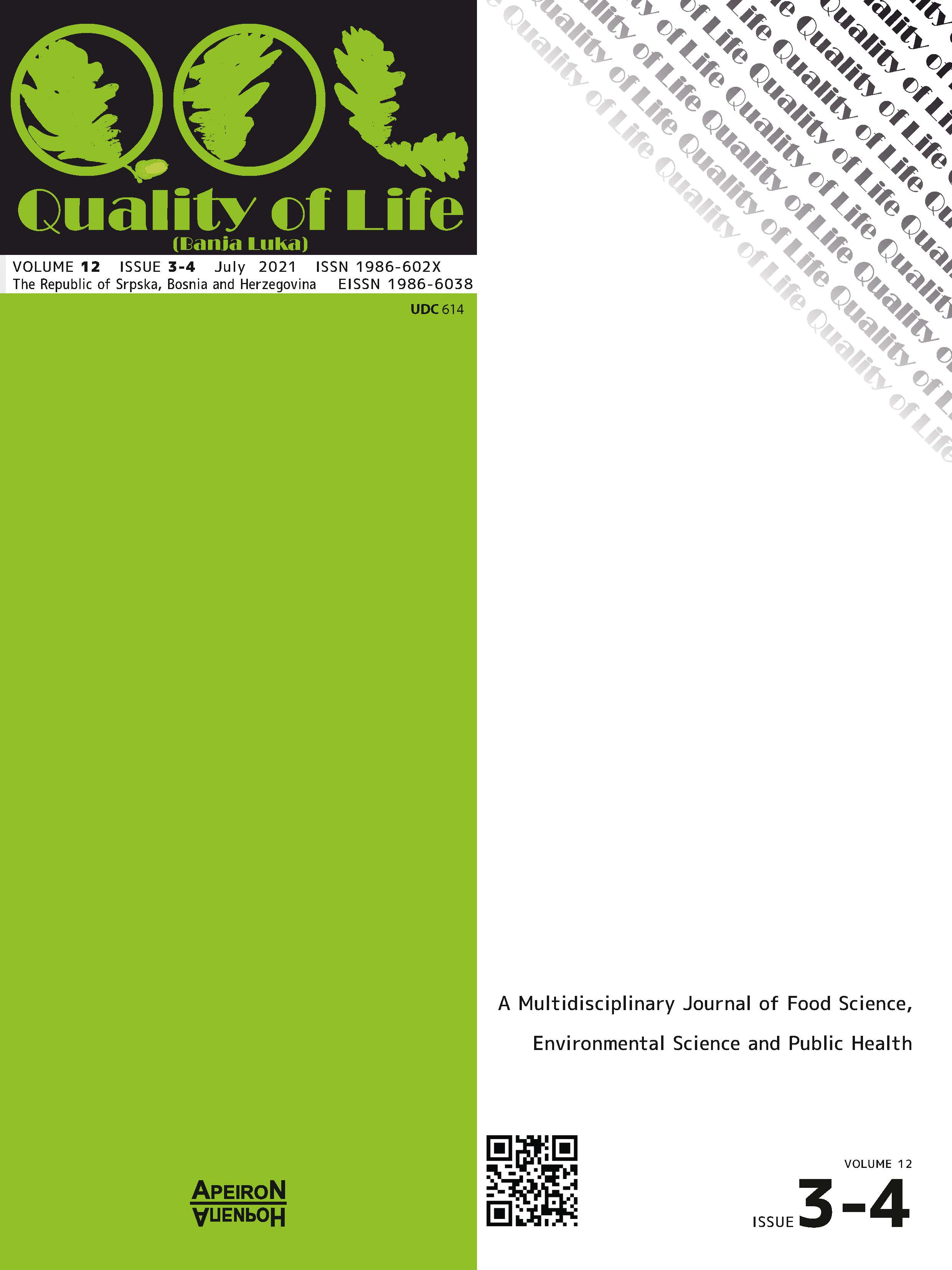 View Vol. 21 No. 3-4 (2021): QUALITY OF LIFE (Banja Luka) - APEIRON