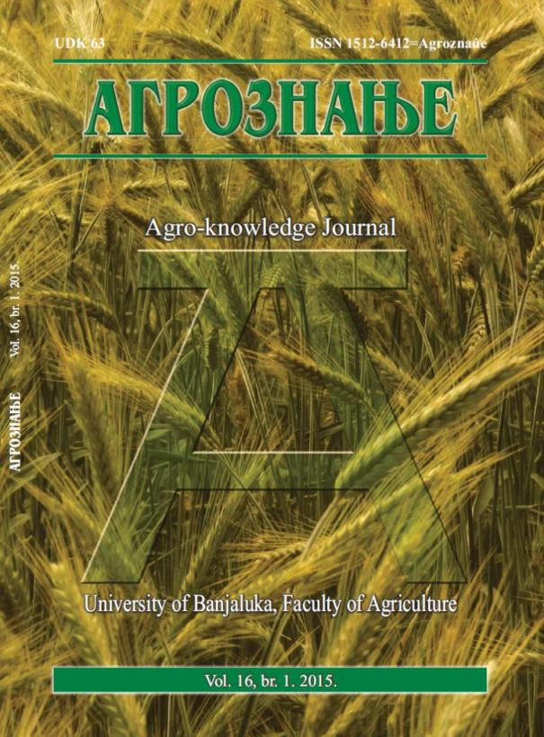 View Vol. 16 No. 1 (2015): Агрознање / Agro-knowledge Journal