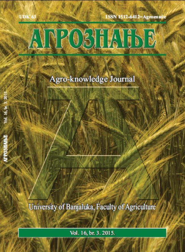 View Vol. 16 No. 3 (2015): Агрознање / Agro-knowledge Journal