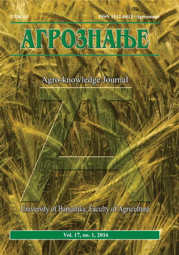 View Vol. 17 No. 1 (2016): Агрознање / Agro-knowledge Journal