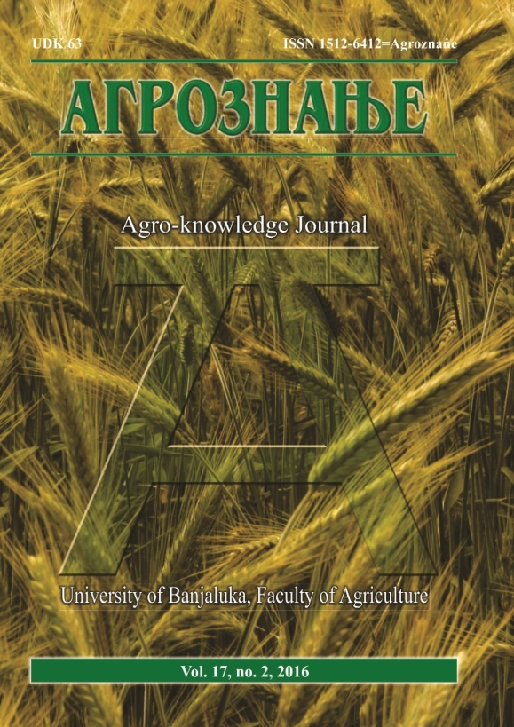 View Vol. 17 No. 2 (2016): Агрознање / Agro-knowledge Journal