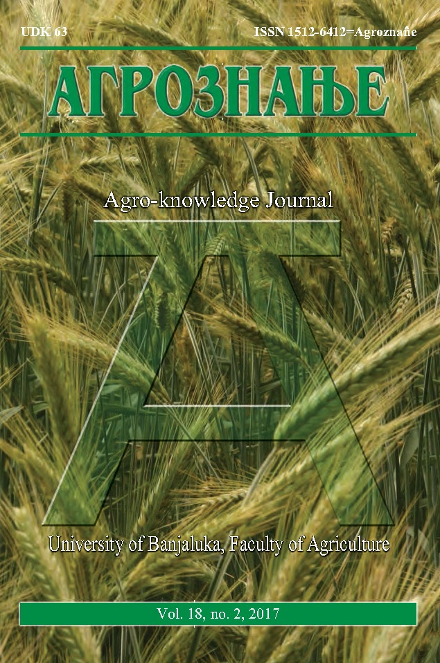 View Vol. 18 No. 2 (2017): Агрознање / Agro-knowledge Journal