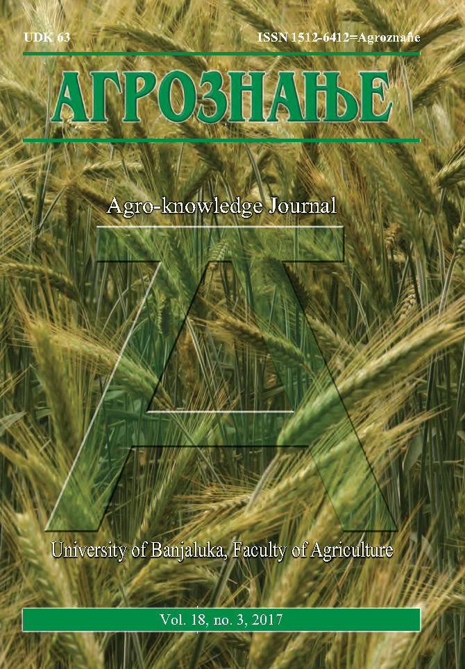 View Vol. 18 No. 3 (2017): Агрознање / Agro-knowledge Journal