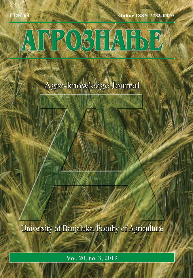 View Vol. 20 No. 3 (2019): Агрознање / Agro-knowledge Journal