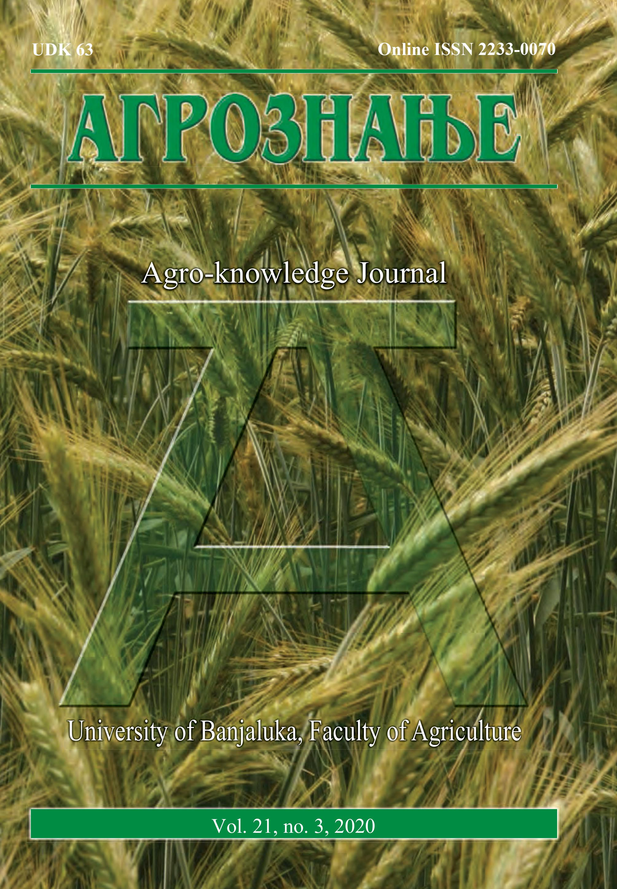 View Vol. 21 No. 3 (2020): Агрознање / Agro-knowledge Journal