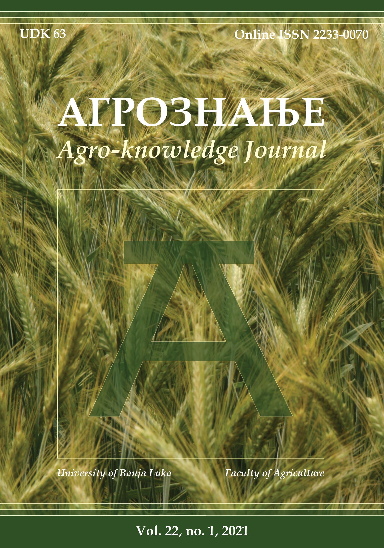 View Vol. 22 No. 1 (2021): Агрознање/Agroknowledge Journal