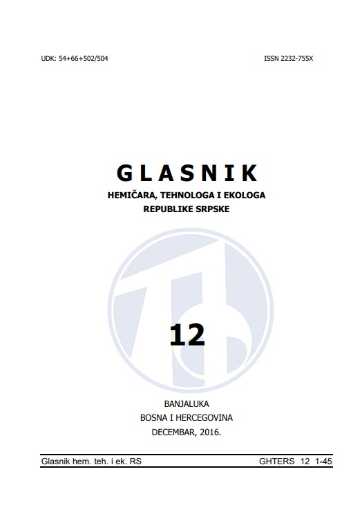 View Vol. 8 No. 12 (2016): Glasnik hemičara, tehnologa i ekologa Republike Srpske