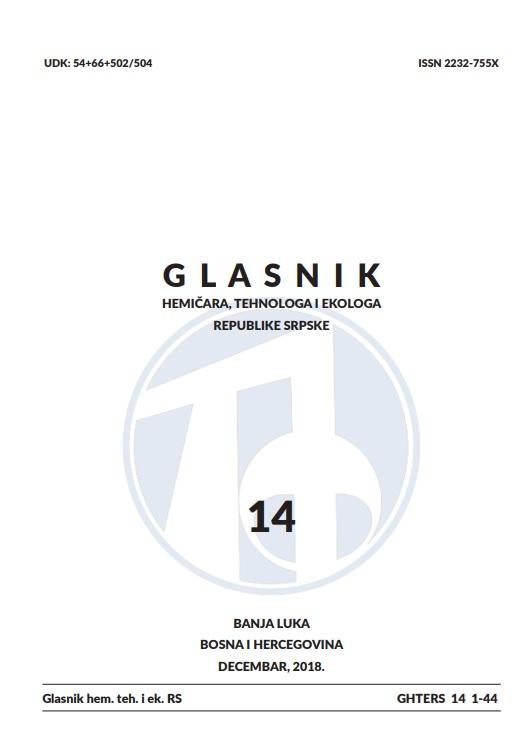 View Vol. 10 No. 14 (2018): Glasnik hemičara, tehnologa i ekologa Republike Srpske