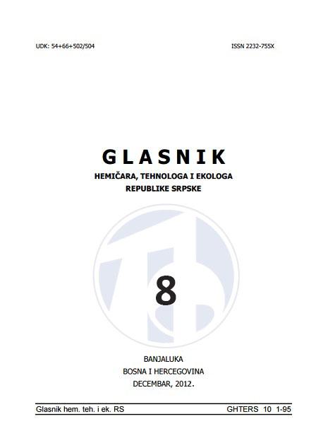 View Vol. 4 No. 8 (2012): Glasnik hemičara, tehnologa i ekologa Republike Srpske