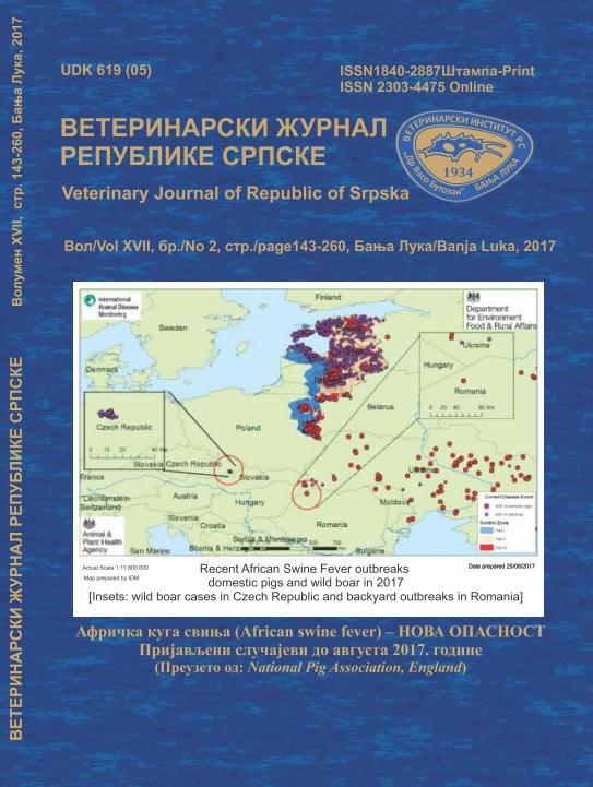 View Vol. 17 No. 2 (2017): ВЕТЕРИНАРСКИ ЖУРНАЛ РЕПУБЛИКЕ СРПСКЕ