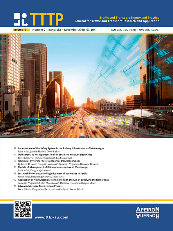 View Vol. 6 No. 2 (2020): TRAFFIC AND TRANSPORT THEORY AND PRACTICE